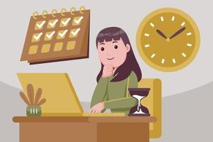 mulher de sucesso no controle de tarefas e tempo. vetor