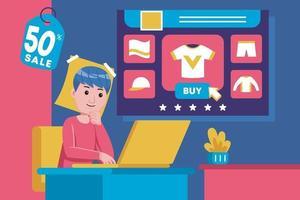 jovem senta para comprar produtos com laptop vetor