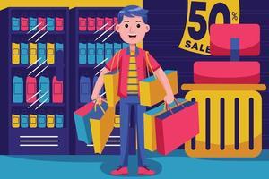 jovem feliz fazendo compras no supermercado vetor