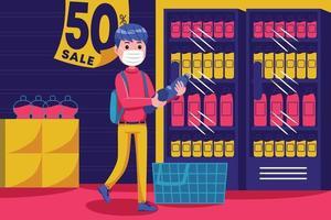 jovem caminhando com uma cesta vazia no supermercado com máscara vetor
