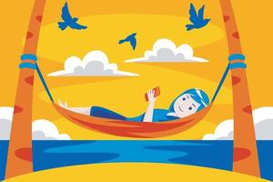 mulher relaxando na rede na praia tropical. vetor