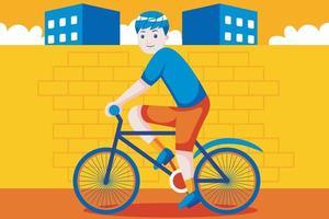 jovem feliz com bicicleta na cidade. vetor