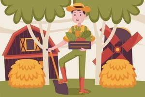 homem feliz agricultor traz cenoura na cesta. vetor