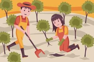 casal de agricultores cavando o solo para o plantio de plantas. vetor