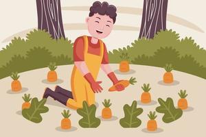 homem feliz agricultor colhe cenouras no jardim. vetor