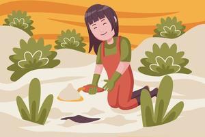 mulher agricultora cavando o solo para o plantio de plantas. vetor