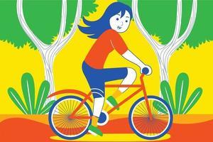 jovem feliz andando de bicicleta no jardim. vetor