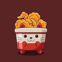 ilustração de gato bonito frango frito com estilo cartoon plana. vetor
