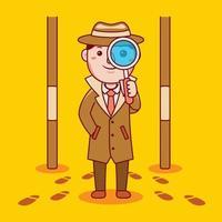 profissão de detetive de homem em estilo design plano. vetor