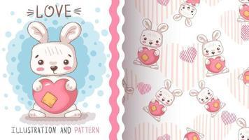 coelho fofo personagem de desenho animado com coração vetor