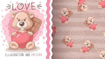 bonito desenho animado personagem animal castor com coração vetor