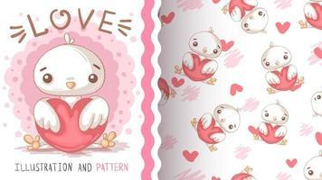 personagem de desenho animado infantil animal pássaro pintinho com coração vetor