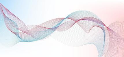 Resumo de partículas de pontos ondulados em azul e vermelho linhas suaves forma curvilínea matriz fluida de pontos em fundo branco vetor