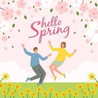 olá primavera, homens e mulheres celebram a primavera vetor