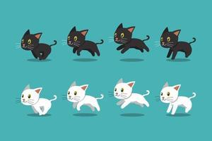 vector cartoon gato preto e gato branco conjunto em execução