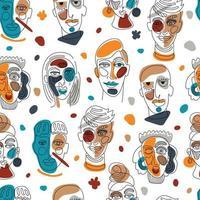 rostos abstratos modernos. silhuetas de homem feminino contemporâneo. mão desenhada contorno ilustração na moda. linha contínua, conceito minimalista. padrão sem emenda em branco. vetor