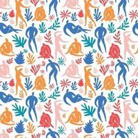 padrão sem emenda doodle na moda e ícones abstratos de pessoas em fundo branco. coleção de verão, formas incomuns em estilo de arte matisse à mão livre. inclui pessoas, arte floral. vetor