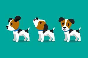 conjunto de poses de cachorro jack russell terrier de personagem de desenho vetorial bonito vetor