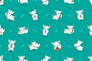 vetor personagem de desenho animado cão scottish terrier branco sem costura de fundo