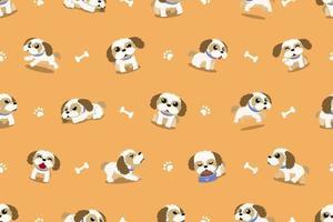 vetor desenho animado personagem shih tzu cão padrão sem emenda