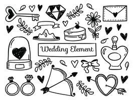 Elementos de casamento mão desenhada vetor