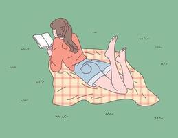 uma garota está deitada no gramado e lendo um livro. vetor