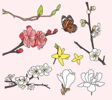 ramos floridos e borboletas. vetor