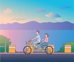 um homem e uma mulher estão namorando em uma bicicleta de casal.