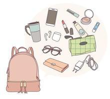 o que está em minha bolsa vetor