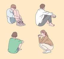 pessoas sentadas em várias poses. vetor
