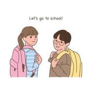 um menino e uma menina com mochilas olham para trás e sorriem. vetor