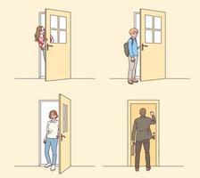 pessoas que abrem a porta. vetor