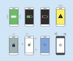 vários ícones na tela do telefone. vetor