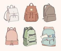 mochilas escolares em estilo casual. vetor