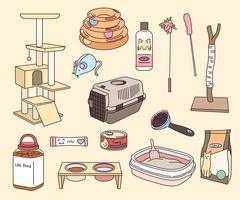 coleção de suprimentos para animais de estimação. vetor