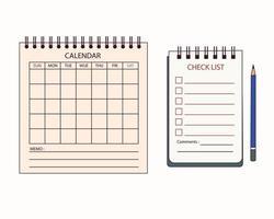 calendário de mesa e modelo de caderno. vetor