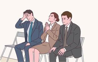 pessoas de terno rezam enquanto esperam a entrevista com expressões nervosas. vetor