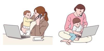 a mãe trabalha em casa enquanto cria os filhos. vetor