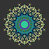 ornamento decorativo mandala fundo escuro vector