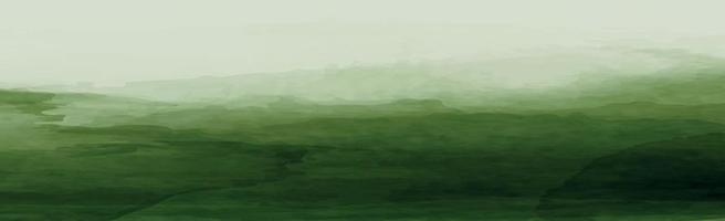textura panorâmica de aquarela verde realista em um fundo branco - vetor