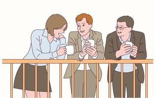 o pessoal do escritório faz uma pausa enquanto bebe café. vetor