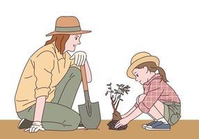 mãe e filha estão plantando uma árvore juntas. vetor