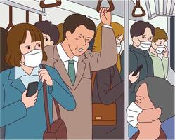 um homem tosse no metrô, todos os passageiros usando máscaras. vetor