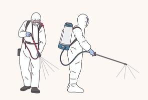 pessoas em uniformes de quarentena estão pulverizando desinfetantes. vetor