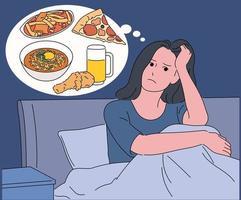 uma mulher acorda na cama no meio da noite e pensa em comida. vetor