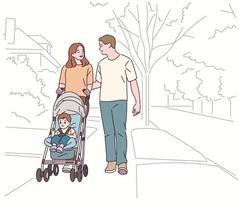 mamãe e papai estão andando na rua empurrando um carrinho de bebê. vetor