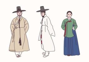 pessoas vestindo roupas tradicionais coreanas. vetor