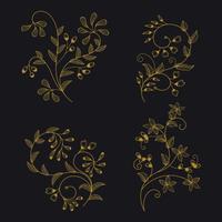 Coleção minimalista de ornamento Floral de Wireframe para elementos de Design vetor