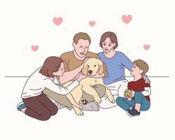 a família adora o cachorro. vetor