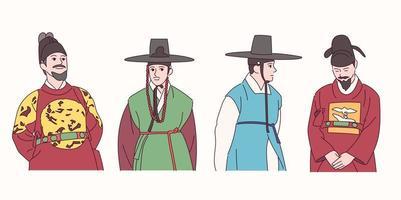 homens com roupas tradicionais coreanas. vetor